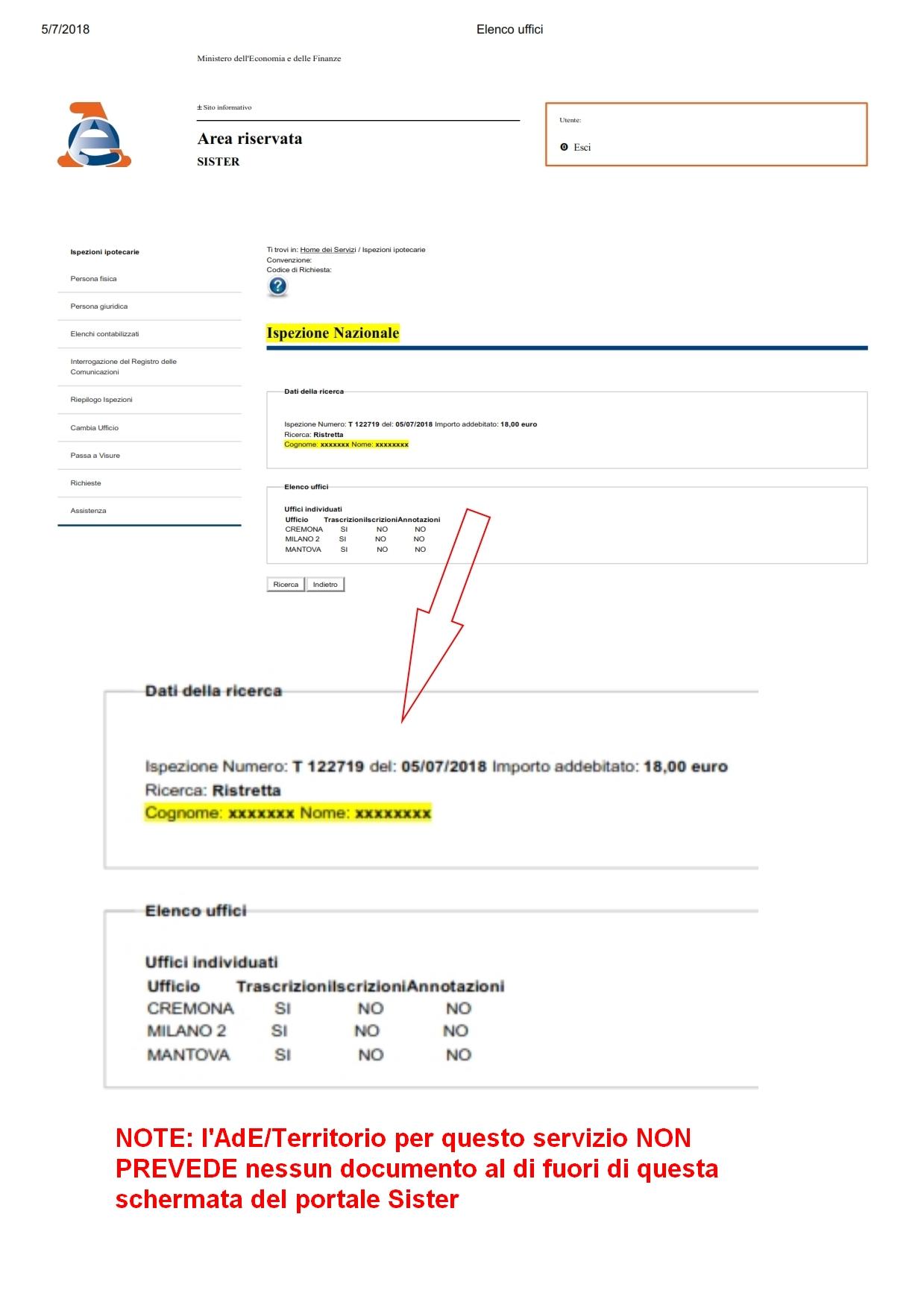 Ispezione Ipotecaria Nazionale In Conservatoria Catasto Semplice